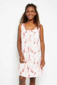 Ladies Pink Koi Fish Summer Chemise Nightdress - SIZE 8 10 12