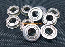 "(10 PCS) FR133zz (3/32"" x 3/16"" x 3/32"") Metal Shielded FLANGED Ball Bearings"