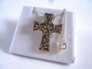 LAVAGGI-  Mother of Pearl Ornate Cross & Silver Necklace