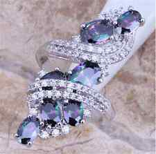 Women Fashion 925 Silver Rainbow Topaz Ring Wedding Engagement Jewelry Size 6-10