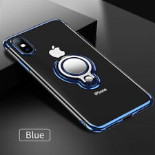 For iPhone 7 8 Slim Protective Shockproof Magnetic Ring Holder Clear Case Blue