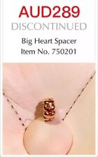 PANDORA GENUINE RETIRED 14k Gold 'Big Hearts' Spacer - 750201