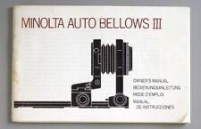Minolta Auto Bellows III Instruction Manual (English German French Spanish)