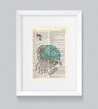 Scorpio Zodiac Astrology Starsign Vintage Dictionary Book Print Art