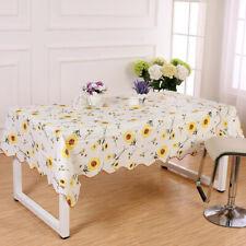 Wipe Clean PVC Vinyl Table Cloth Rectangule Floral Mat Table Cover Sunflower