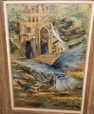 TILLMAN NUNS CONVENT & BLUE BIRDS MID-CENTURY HUGE OIL ON CANVAS PAINTING 1963