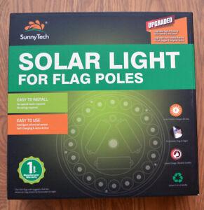 Solar Powered Flag Pole Light LED Super Bright Waterproof Upgraded high efficien