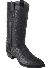 LOS ALTOS MEN BLACK GENUINE FULL QUILL OSTRICH WESTERN COWBOY BOOT J-TOE EE