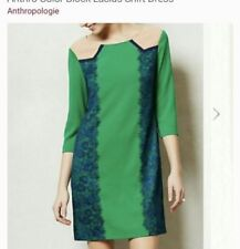 ANTHROPOLOGIE CHAMPAGNE & STRAWBERRY LUCIUS DRESS S $148 GREEN Blue Lace Career