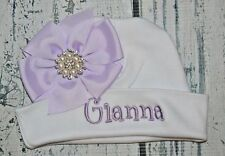 Monogrammed Baby Girl Hat Bow Pink Bow & Rhinestone Personalized Newborn Beanie