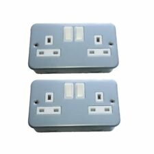 2x Metal Clad 2 Gang  / Twin / Double Electrical Socket 13amp (Free Delivery)