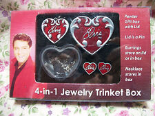 NEW ELVIS PRESLEY RED PEWTER BOX, NECKLACE, PIN AND EARRING SET