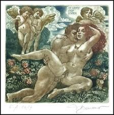 David Bekker 2001 Exlibris C4 Adam and Eve Erotic Nude Angel Flowers Sex 764