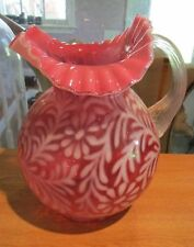 "Vintage Fenton Cranberry Opalescent Daisy & Fern 9.75"" Large Pitcher"