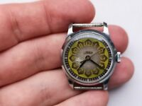 1957 Rare COLLECTIBLE USSR WATCH Pobeda CORNAVIN 1MchZ Yellow Brown Serviced