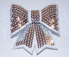 Silver 3D sequin bow hotfix iron on Motif patch Lace xmas costume Applique