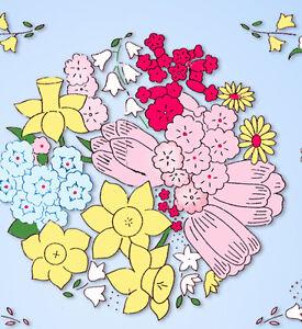 1930s Uncut Weldon English Embroidery Transfer 20762 Flower Bouquet Sofa Pillow