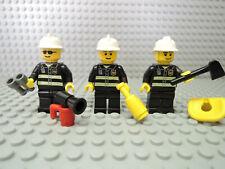 LEGO Figur City Feuerwehr 3 x Feuerwehrmann Männer + viel Zubehör Helm weiß