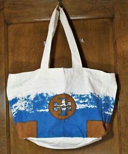Tory Burch canvas logo beach tote bag natural cream blue brown shopper