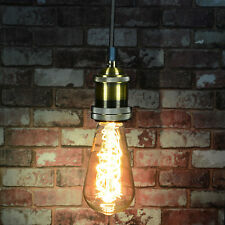 Industrial Ceiling Pendant Light Fitting Filament Bulb Included Antique Gold E27