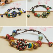 Retro ethnic style ceramic beads Handmade Woven Bangle adjustable Bracelet SZ191