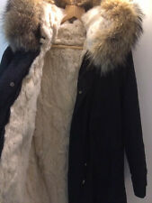 Mr & Mrs Lady Parka UK brand Unisex Black and Natural Fully Real fur lined