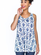 BNWT Agnes & Dora Essential Tank Top Tunic Navy Royal Floral *Size XS*