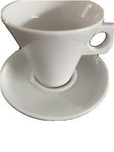 Nescafé Dolce Gusto White Porcelain Purple Espresso Cup Saucer Square Handle Duo