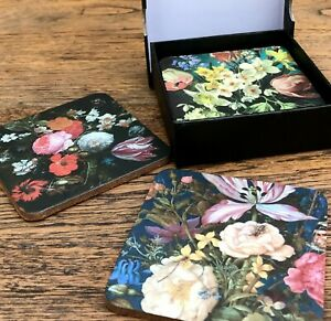 Pack Of Six Dutch Floral Coasters In Gift Box - New