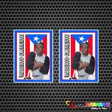 2x ROBERTO CLEMENTE WITH PUERTO RICO RICAN FLAG VINYL CAR STICKERS DECALS
