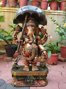 Ganesha Hand Carved Sculpture Hindu God Umbrella Ganesh Statue Figurine Murti US