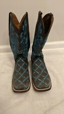 Ferrini Women's Western Leather Boots Size 7 Brown & Teal Great Condition!