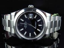 Mens New 41 MM Black Stick Dial Rolex DateJust II 2 116300 Smooth Bezel Watch