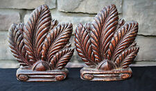 VINTAGE SYROCO WOOD ART NOUVEAU FEATHER PLUME BOOKENDS  SYRACUSE, NY 1940'S RARE