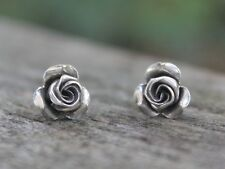 Silver rose earrings Handmade Bohemian Ethnic Gypsy flower studs Gift for her