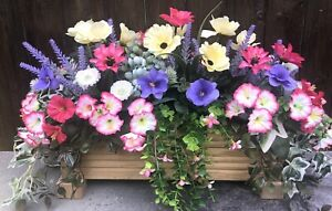 Decking Cottage Garden Planter With Artificial Flowers And Foliage