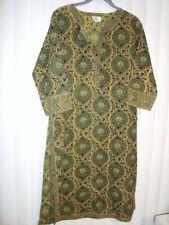 sz M ANOKHI ethnic style boho hippie India green print long tunic dress