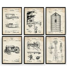 Farming Set Of 6 Patent Prints - Farm House Decor Poster Art Gift - Unframed