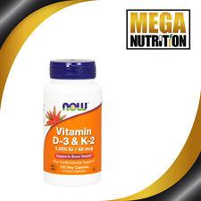 Now Foods 1000 UI de vitamina D3 y K2 45mcg 120 Veggie Cápsulas | Inmune Salud