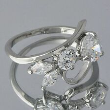 Womens Stretch CZ Gemstone Rings White Gold Silver Filled Rabbit Ear Ring Size 8