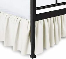 """Ruffled Bed Skirt 24"""" Drop 100% Microfiber (Ivory Solid, Queen Size)"""