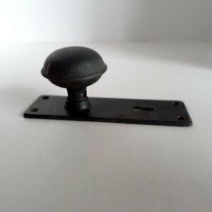 VTG Black Iron Door Knob & Matching Key-Hole Face Plate Set