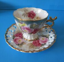 SHAFFORD JAPAN HAND DECORATED OPEN LACE SAUCER HEAVY GOLD PINK ROSES