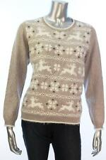New Women's #511 Alfred Dunner Women's Alpine Lodge Reindeer  Sweater Sz PM