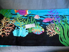 "Coastal Life Collection Black Beach/Spa Towel 35"" by 70"" Fish Dolphins"