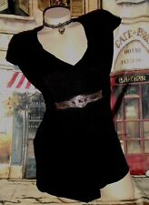 USA 4 WHBM Black Knit Top Blouse Black Empire Grecian Chain Belt Embellished