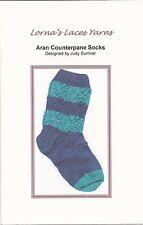 NEW Lorna's Laces Yarn Knitting Pattern Aran Counterpane Socks by Judy Sumner