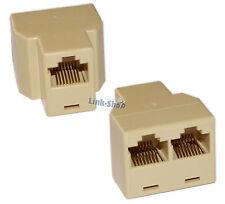 F-F Sdoppiatore RJ45 Modulare Modem Plug Adattatore Internet ADSL Ethernet
