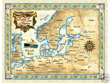 "19.5 x 25"" Baltic Vintage Look Map Poster Printed on Parchment Paper"