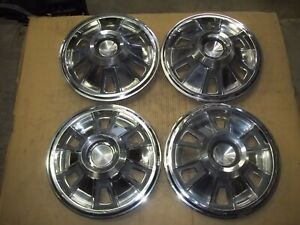 "1966 66 Pontiac Tempest Hubcap Rim Wheel Cover Hub Cap 14"" OEM USED SET 5998"